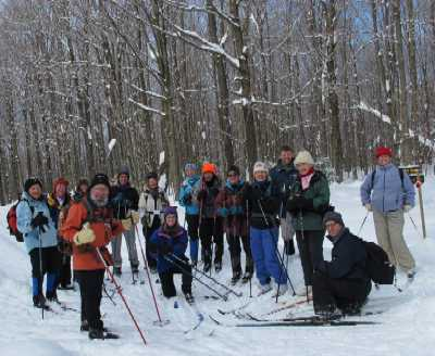 Saturday group of skiers at Winona State Forest